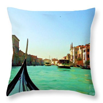 Throw Pillow featuring the photograph Venice Waterway by Roberta Byram