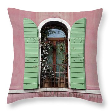 Venice Window In Pink And Green Throw Pillow