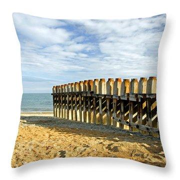 Ventnor Beach Groyne Throw Pillow by Rod Johnson