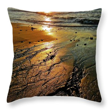 Ventura Beach Winter Sunset Throw Pillow