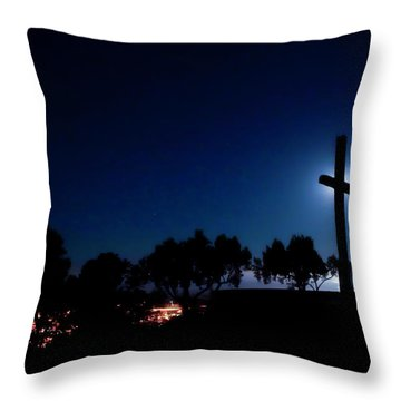 Ventura Ca Cross At Moonset Throw Pillow
