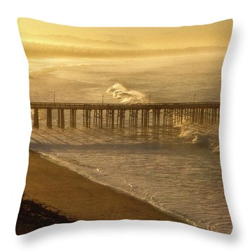 Ventura, Ca Pier At Sunrise Throw Pillow