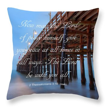 Ventura Ca Pier With Bible Verse Throw Pillow