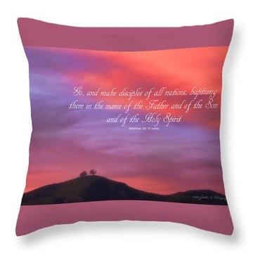 Ventura Ca Two Trees At Sunset With Bible Verse Throw Pillow by John A Rodriguez
