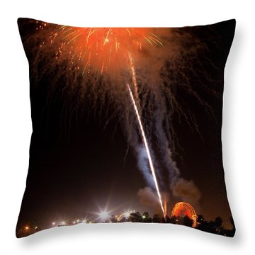 Ventura California Fair Fireworks Throw Pillow by John A Rodriguez