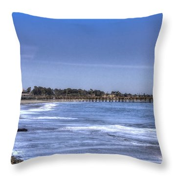 Ventura Pier Moonrise Throw Pillow
