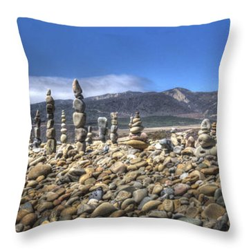 Ventura River Rock Art Panorama  Throw Pillow