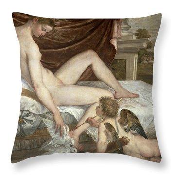 Venus And Cupid Throw Pillow by Lambert Sustris