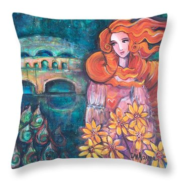 Throw Pillow featuring the painting Venus And Sunflowers by Laurie Maves ART