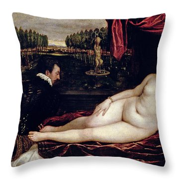 Venus And The Organist Throw Pillow by Titian