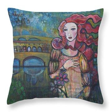 Venus And The Ponte Vecchio  Throw Pillow