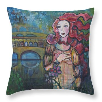 Venus And The Ponte Vecchio  Throw Pillow