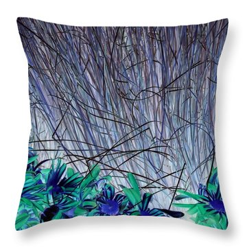 Venus Blue Botanical Throw Pillow