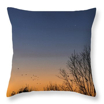 Venus, Mercury And The Moon Throw Pillow