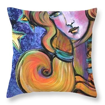 Throw Pillow featuring the painting Venus Of Barbosso  by Laurie Maves ART