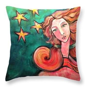 Throw Pillow featuring the painting Venus Of The Stars by Laurie Maves ART