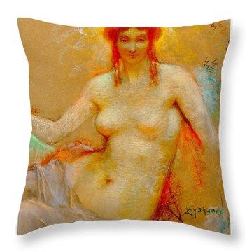 Throw Pillow featuring the pastel Venus Pastel Lucien Levy Dhurmer 1915 by Peter Gumaer Ogden