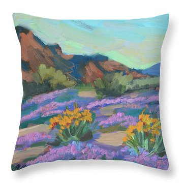 Throw Pillow featuring the painting Verbena And Spring by Diane McClary