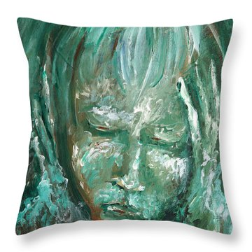 Throw Pillow featuring the painting Verdant by Keith A Link