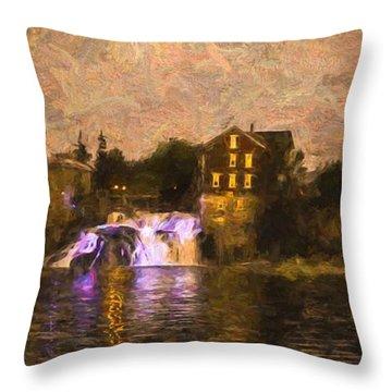 Vergennes Falls Lit Up Throw Pillow by Rena Trepanier