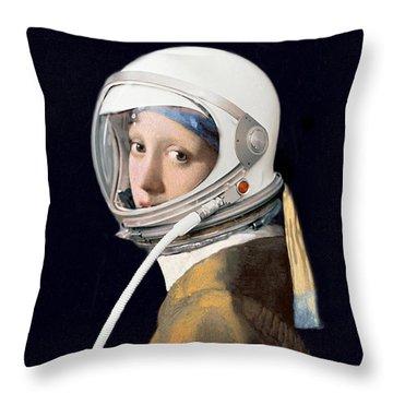 Vermeer - Girl In A Space Helmet Throw Pillow