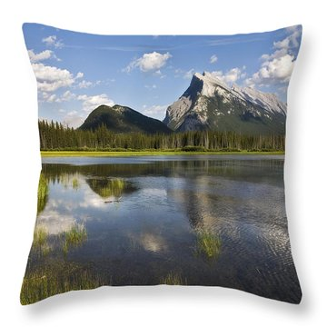 Vermillion Lake And Sulpher Mountain Throw Pillow
