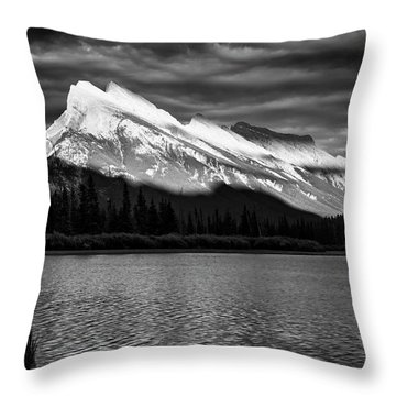 Vermillion Lakes And Mt Rundle Bw Throw Pillow