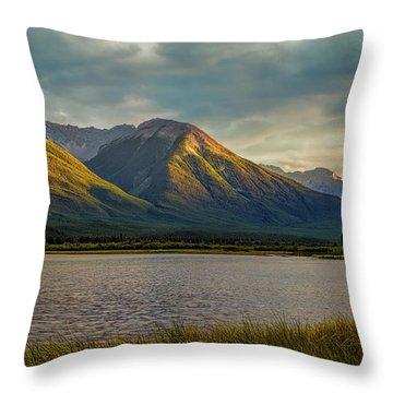 Vermillion Lakes Sunset Throw Pillow