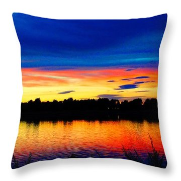 Throw Pillow featuring the photograph Vermillion Sunset by Eric Dee