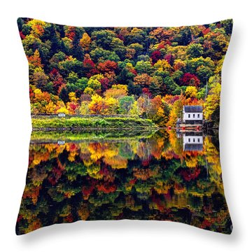 Vermont Autumn Reflections Throw Pillow by Jean Hutchison