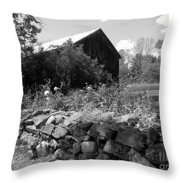 Vermont Barn And Stone Wall Throw Pillow