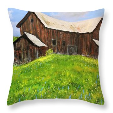 Throw Pillow featuring the painting Vermont Barn by Ken Ahlering