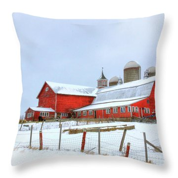 Vermont Barn Throw Pillow by Sharon Batdorf