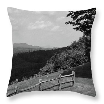 Throw Pillow featuring the photograph Vermont Countryside 2006 Bw by Frank Romeo