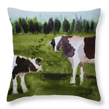Throw Pillow featuring the painting Vermont Cow And Calf by Donna Walsh