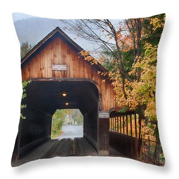 Vermont Fall Colors Over The Middle Bridge Throw Pillow