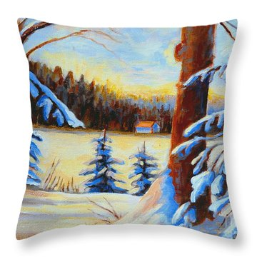 Vermont Log Cabin Maple Syrup Time Throw Pillow by Carole Spandau