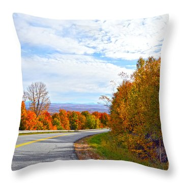 Vermont Mountain Road Throw Pillow by Catherine Sherman