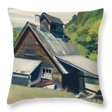 Vermont Sugar House Throw Pillow by Edward Hopper