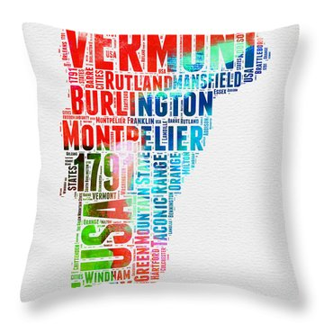Vermont Watercolor Word Cloud  Throw Pillow