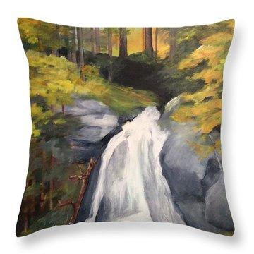Vermont Waterfall Throw Pillow by Ellen Canfield