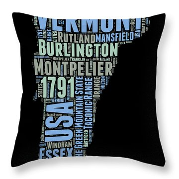 Vermont Word Cloud 1 Throw Pillow