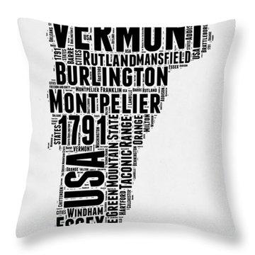 Vermont Word Cloud 2 Throw Pillow