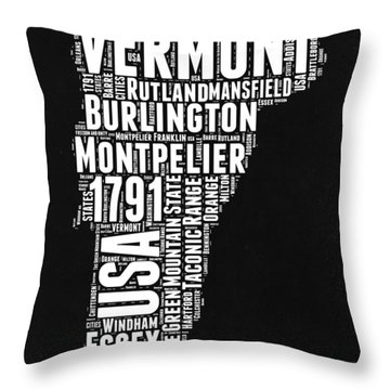 Vermont Word Cloud Black And White Map Throw Pillow