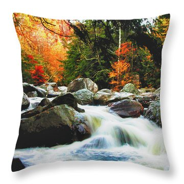Throw Pillow featuring the photograph Vermonts Fall Color Rapids by Jeff Folger