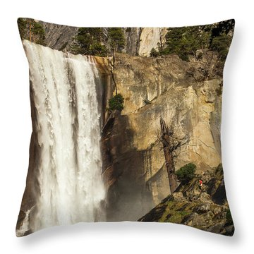 Vernal Falls And Hiker - Yosemite Throw Pillow