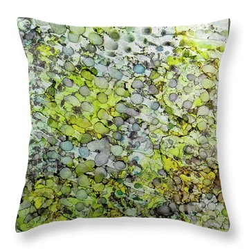 Throw Pillow featuring the painting Vernal Showers Ink #12 by Sarajane Helm