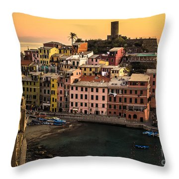 Vernazza At Sunset Throw Pillow