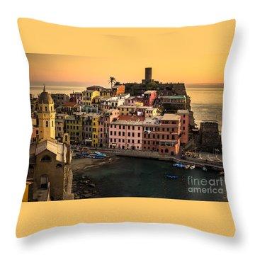 Vernazza At Sunset Throw Pillow