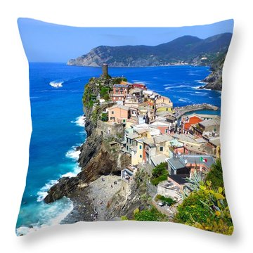 Vernazza Cinque Terre Throw Pillow by Amelia Racca
